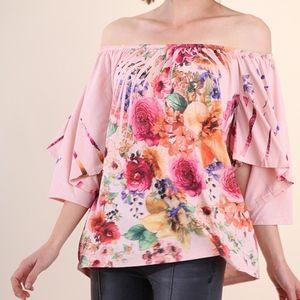 Tops - Floral Print Off-Shoulder Top                   2C